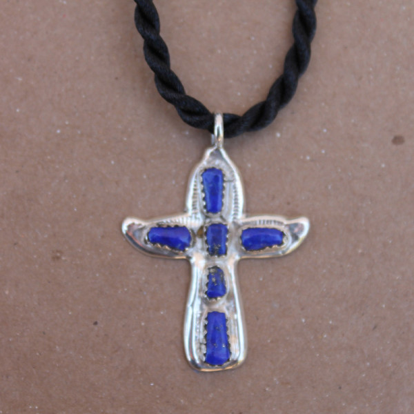 Lapis Cross Necklace, on Black Cord