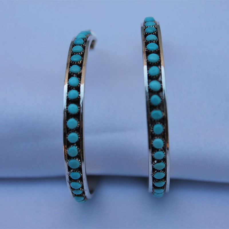 Large Hoop Turquoise Earrings