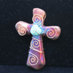Raku Pottery, Sacred Cross Multi-color