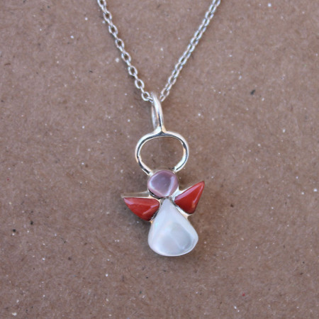 Coral Angel Jewelry on Silver Chain