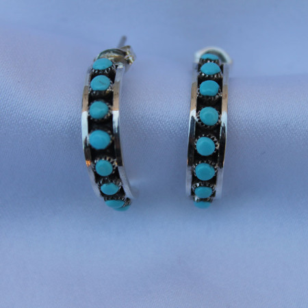 Small Hoop Turquoise Earrings