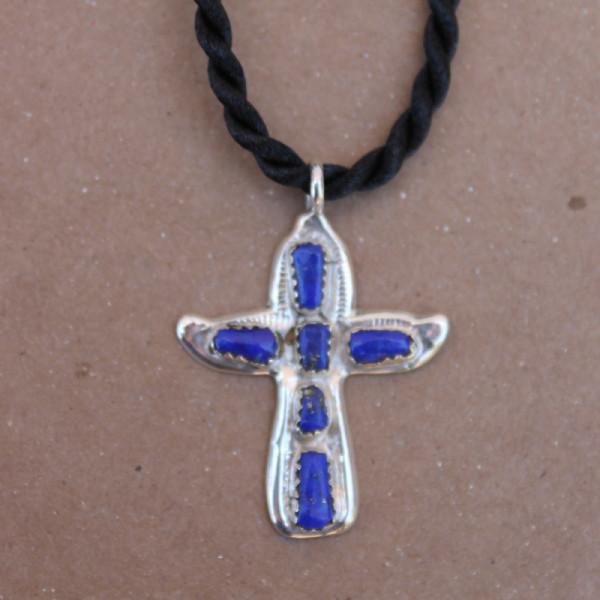 Lapis Cross Necklace, on Black Cord