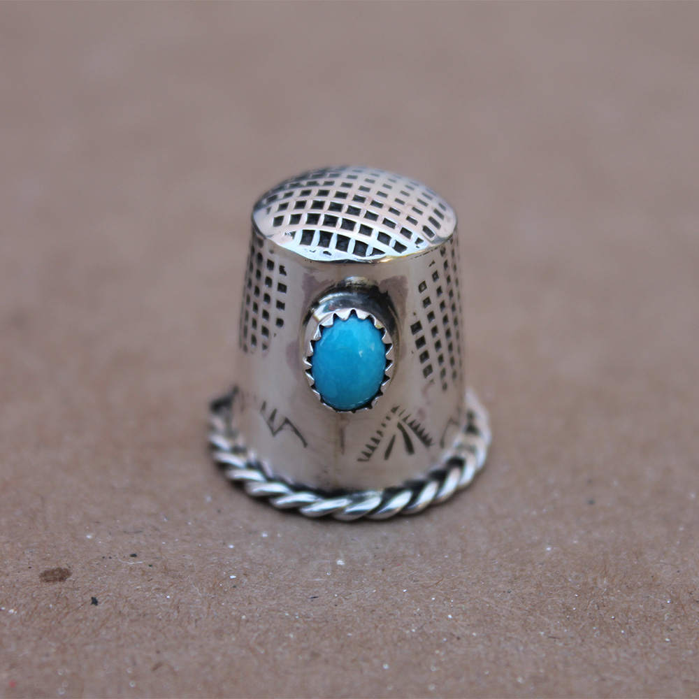 Turquoise Silver Thimble