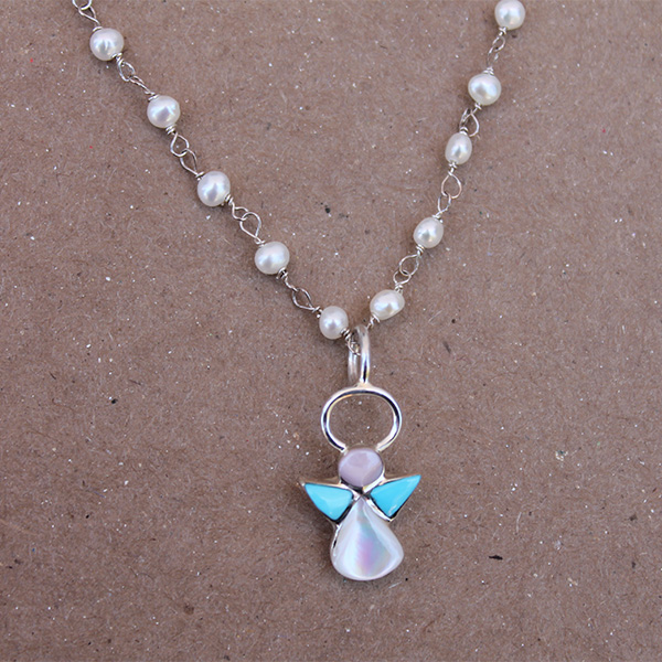 Mini Turquoise Angel on Fresh Water Pearl Necklace