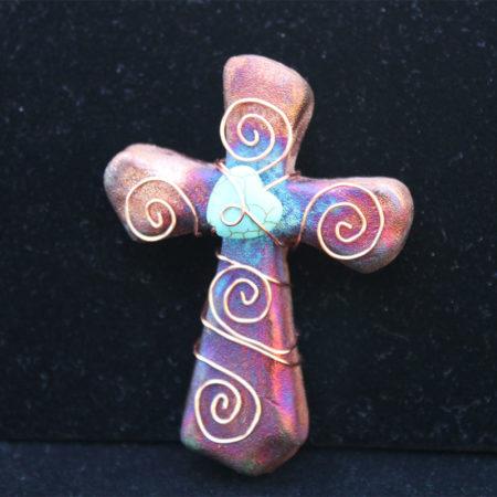 Raku Pottery, Sacred Cross Multi-color