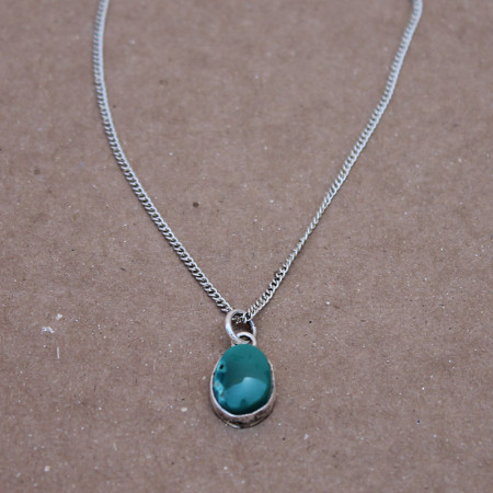 Oval Turquoise Pendant Chain-$-50.00
