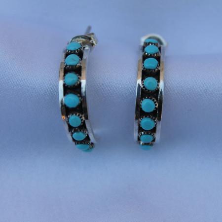Small Hoop Turquoise Earrings